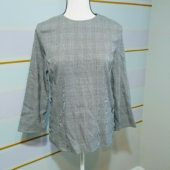 Zara Tops - Zara 3/4 sleeve plaid top sz XS